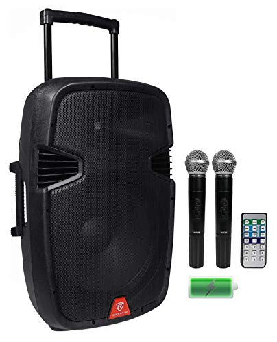 "Rockville 15"" Rechargable Powered 800W PA DJ Speaker, 2 Mics, Bluetooth (RAM15BT V2)"
