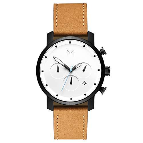 MVMT Chrono White Black Tan Herren Uhr Armbanduhr Leder MC02-WBTL