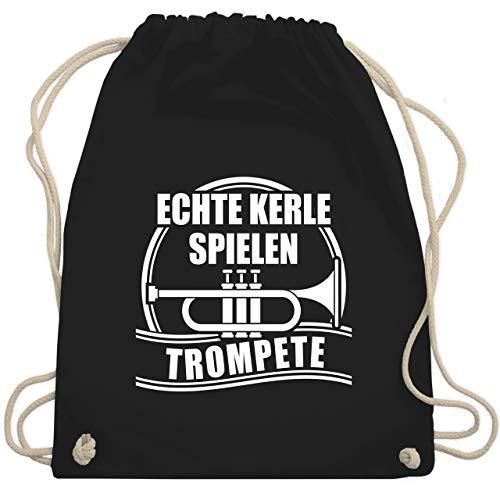 Shirtracer Instrumente - Echte Kerle spielen Trompete - Unisize - Schwarz - turnbeutel trompete - WM110 - Turnbeutel und Stoffbeutel aus Baumwolle