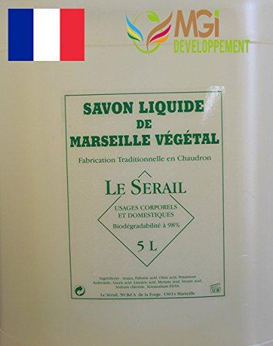 MGI DEVELOPPEMENT Bidon de 5 litres de Savon de Marseille Liquide - Fabrication Artisanale. (Savon Liquide sans Parfum)