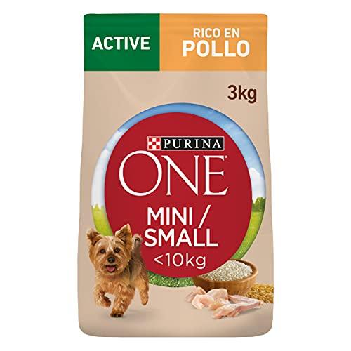 Purina ONE Mini Active Pienso para Perro Adulto Pollo y Arroz 4 x 3 Kg ✅