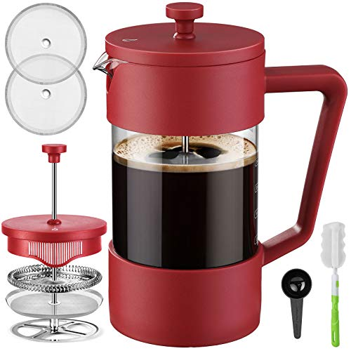 Veken French Press Coffee & Tea Maker 34oz, Thickened Borosilicate Glass Coffee Press with 3 Filter Screens, Rust-Free and Dishwasher Safe, 100% BPA Free, Red