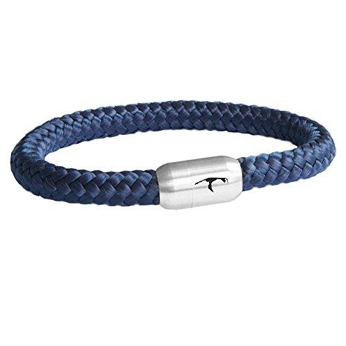 Paris Montana Das Original Sylt Segeltau Armband Mit Gravur Handmade Hochwertiger Magnetverschluss 8mm (Marine Blau, 20)