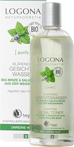LOGONA Naturkosmetik Klärendes Gesichtswasser, Reguliert & verfeinert das Hautbild, Reduziert den Hautglanz & wirkt gegen Unreinheiten, Vegan, 125ml