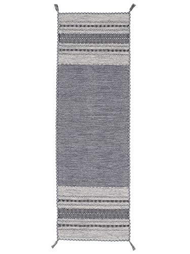 carpetfine Tappeto a Tessitura Kilim Azizi passatoia Grigio 80x300 cm   Tappeto Moderno per Soggiorno e Camera da Letto