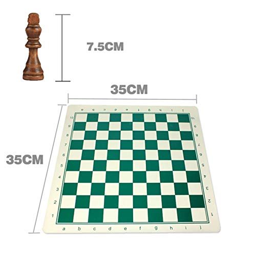 OYPY 77/97mm Medieval Wooden Chess Set, Tournament Chess With Vinyl Chessboard Board Games Travel Chess Pieces Board Game Kids Toy (Color : 75mm With 35cm Board)