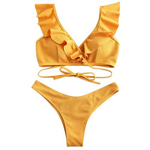 GPURE Bikini Mujer Push up Sexy Bañador Verano Volante Fruncido Traje De Baño de Dos Piezas Brasileños Tanga Cintura Alta Natacion Neopreno Deportivo Playa Verde Amarillo Bañador S-XL