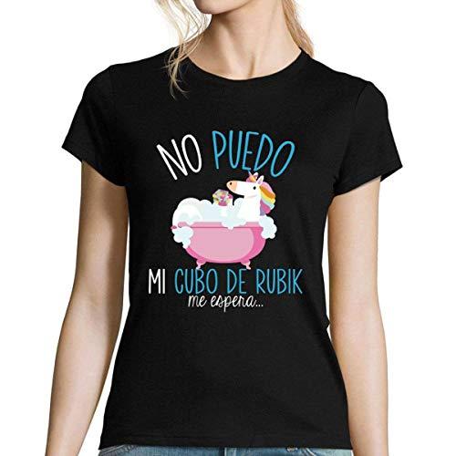 No Puedo Tengo Cubo de Rubik | Camiseta Mujer Diseño Humor para Amantes del Cubo de Rubik M