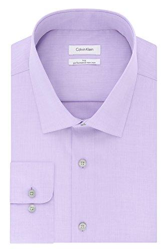 Calvin Klein Men's Tall Dress Shirts Non Iron Herringbone Solid, Lilac, 18' Neck 34'-35' Sleeve (XX-Large Big)