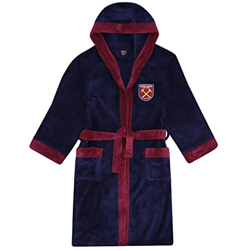 West Ham United FC Official Gift Boys Fleece Dressing Gown Robe Navy 11-12 Years