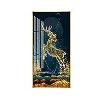 エントランスポーチ装飾絵画垂直版ライト高級雰囲気廊下通路壁画現代抽象ヴィラ絵画クリスタル磁器絵画 (Color : D, Size : 60*120cm)