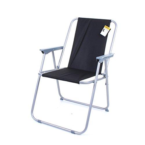 Marko Outdoor Deck Chair Folding Garden Lawn Patio Spring Foldable Seat Camping Outdoor (Black)