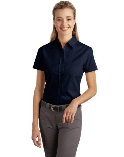 Port Authority Women's Short Sleeve Easy Care Soil Resistant Shirt XS Navy
