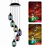 AceList Color-Changing Solar Powered Lanterns Wind Chime Wind Moblie LED Light, Gzero Spiral Spinner Windchime Portable Outdoor Chime for Patio, Deck, Yard, Garden, Home,