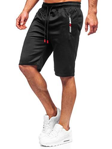 BOLF Hombre Pantalón Corto Deportivos Shorts Bermudas Básicos Pantalón Corto de Fitness Print Entrenamiento Gimnasio Deporte Outdoor Ocio Estilo Urbano JX201 Negro L [7G7]