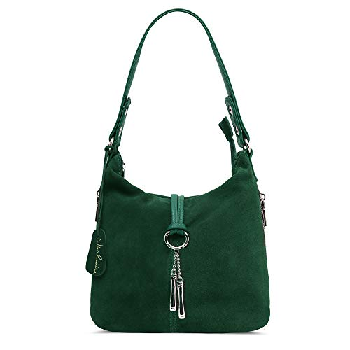 """This purse designed by Nico Louise.Front &Back side made by genuine split suede leather , bottom & other part made by PU leather. Decorate with circular ring & metal pendant . Zipper Closure Size: 9.4"""" x 9.8"""" x 4.7"""" (LxWxH) 1.54(lb) [handle]7""""- 9.8""""[..."""