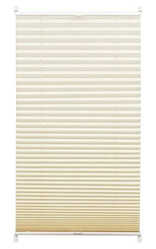 Gardinia Plissee zum Klemmen, Blickdichtes Faltrollo, Alle Montage-Teile inklusive, EASYFIX Plissee Stoff verspannt mit zwei Bedienschienen, Creme, 90 x 130 cm (BxH)