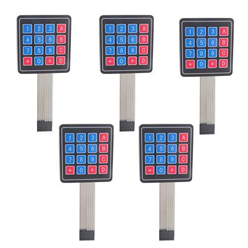 4x4 16 Keys Matrix Array Membrane Keypad Switch 8pin Keyboard Module for Arduino Microcontroller (Pack of 5)