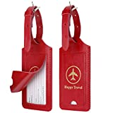 WALNEW ネームタグ 荷物タグ レザー スーツケース 旅行タグ 出張用タグ バッグ用ネームタグ ベルト付き トラベル用 二枚入り