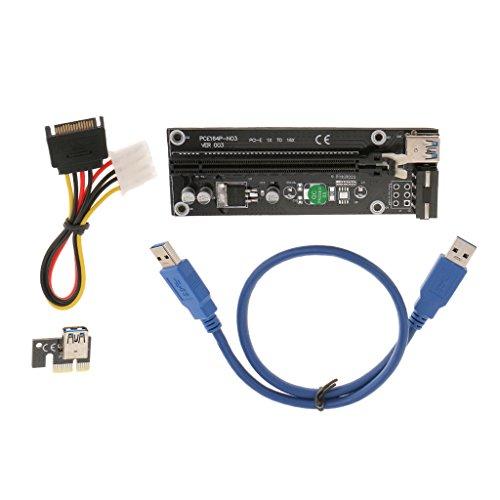 balikha Adaptador de Placa Elevadora Extensor USB 3.0 PCI-E 1x a 16x SATA - 50cm