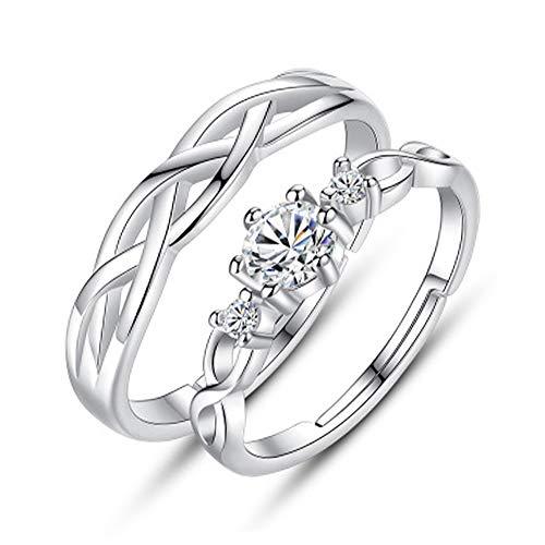 Anillo ondulado de 2 piezas, anillo de pareja, anillo de bodas, anillo para hombres y mujeres