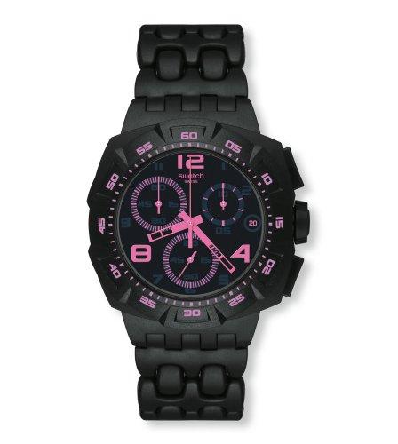 Swatch Black Dunes SUIB410 - Reloj de Caballero de Cuarzo, Correa de Goma Color Negro