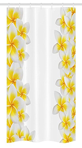 Yeuss Hawaiian Stall Duschvorhang, Frangipani-Blüten-exotische Natur-Garten-Plumeria-Blumen-Rahmen-Entspannung
