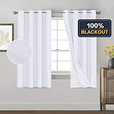 Primitive Textured Linen 100% Blackout Curtains for Bedroom/Living Room Energy Saving Window Treatment Curtain Drapes, Burlap Fabric with White Thermal Insulated Liner (52 x 63 Inch, White)