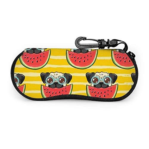 GOSMAO Funda Gafas Perro Pug Gracioso Con Gafas De Sol Comiendo Sandía Neopreno Estuche Ligero con Cremallera Suave Gafas Almacenaje