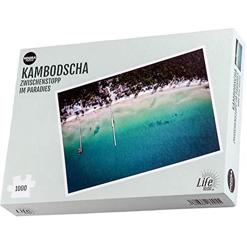 HOORA Puzzle - Camboya - Inter-Stopp en el paraíso, la playa, el mar, 1000 piezas, rompecabezas, juego de habilidad para jóvenes y mayores, puzzle para adultos a partir de 14 años.