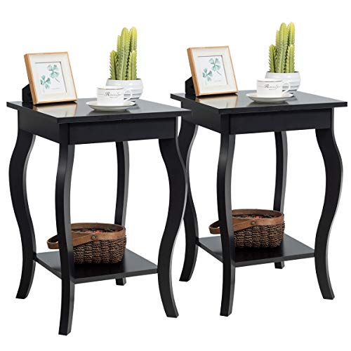 Giantex Nightstand Wooden Frame W// 2 Drawers and Curved Legs Accent Beside Sofa for Living Roome Bedroom Kids Room Home Furniture Side End Table 1, Black