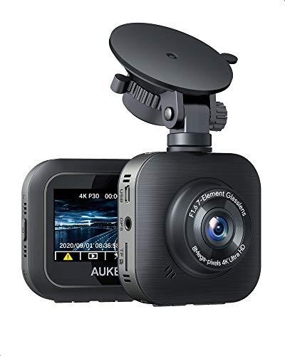 AUKEY 4K Dashcam 3840 x 2160p WiFi Autokamera mit Superkondensator und Objektiv für 6 Spuren, Dashcam für Autos mit HDR, Endlosaufzeichnung, Beschleunigungssensor, Bewegungserkennung