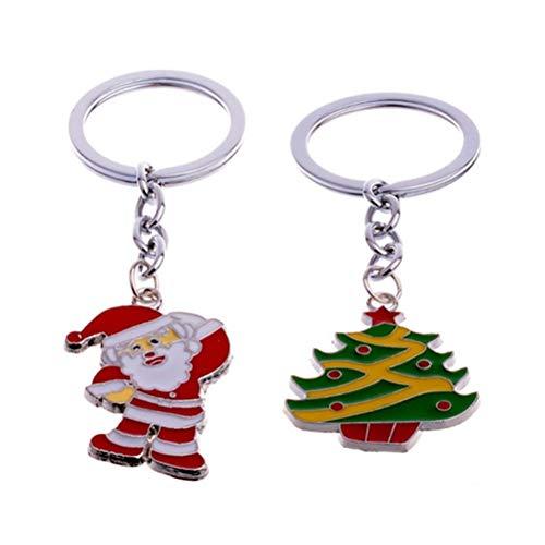 Amosfun 2 x Weihnachts-Schlüsselanhänger aus Zinklegierung, Weihnachtsbaum-Anhänger, Schlüsselanhänger, Zubehör für Autoschlüssel, Geldbörse, Tasche, Geschenk