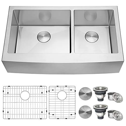 Best Price Ruvati 36-inch Farmhouse Apron-Front 60/40 Double Bowl Kitchen Sink Stainless Steel - RVH...