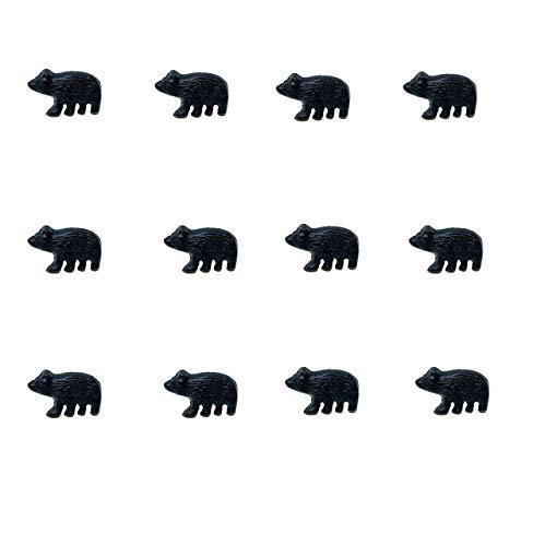 Cast Iron Black Bear Drawer Cabinet Knob Pull (Set of 12)