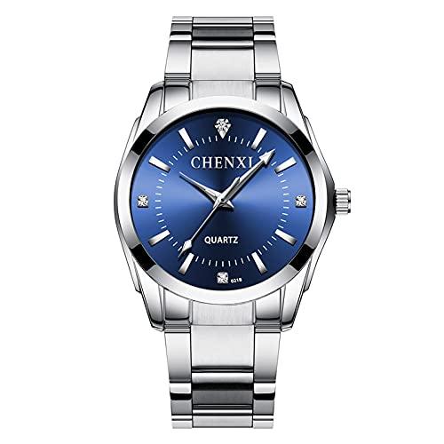 aimuzi Pareja Reloj Reloj Dual Zona horaria Negocio Reloj de Rhinestone Moda Cuarzo Vestido de Mujer Impermeable Acero Inoxidable Relojes de Pulsera,Male Blue