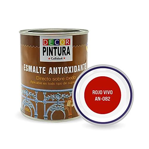 Pintura Rojo vivo Antioxidante Exterior para Metal minio Pinturas Esmalte Antioxido para galvanizado, hierro, forja, barandilla, chapa para interiores y exteriores - Lata 750ml