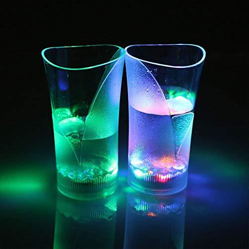 SPI 1 / 2pcs LED Leuchtende Tasse Acrylglas Flüssigkeit Induktion Tasse Vase Form Bunte Verfärbung Weinglas Plastikbecher Bar KTV Party Überraschung Tasse Kreatives Geschenk, 2pcs, 200-300ml