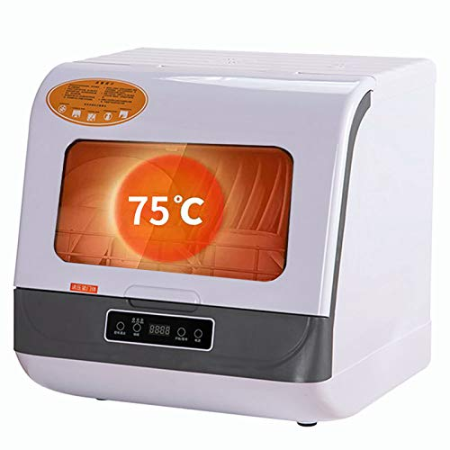 Lave-vaisselle automatique 220V, ventilateur de bureau séchant les petits légumes et les fruits Nettoyer, contenir 5 jeux de vaisselle, nettoyer, stériliser, sécher et ranger,White