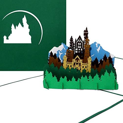 """Pop-Up Karte """"Bergpanorama & Schloss"""" 3D Grußkarte mit Modell German Castle als Souvenir, Geschenk, Geburtstagskarte & Einladung zum Wandern in Bayern"""