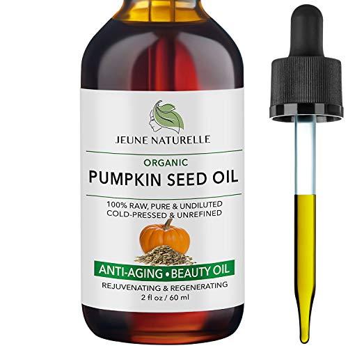 Pumpkin Seed Oil Organic - 100% Pure RAW Cold Pressed Undiluted Pumpkin Seed Oil For Anti Aging Wrinkle Repair Dark Spots Scars Acne Hair Growth Serum Pumpkin Oil - Vitamin E Oil For Skin, 2 oz