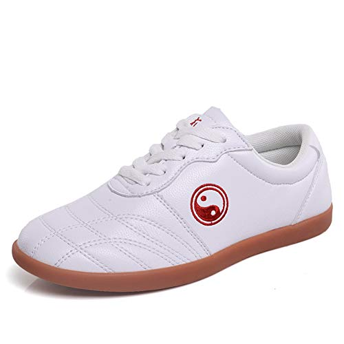 Classic Pink Unisexe Tai Chi WU Shu Kung Fu des Chaussures Respirant Antidérapant Sport Gym Sneaker pour Daily Entraînement Matin des Exercices Cuir Blanc 39 EU