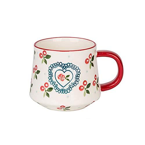 kerryshop Tazas para niños 15.Oz Taza Pintada a Mano de Gran Capacidad, Taza de Desayuno de Leche, Taza de Pareja Creativa de Cerezo, Adecuado para café y té Taza de té (Color : Red)