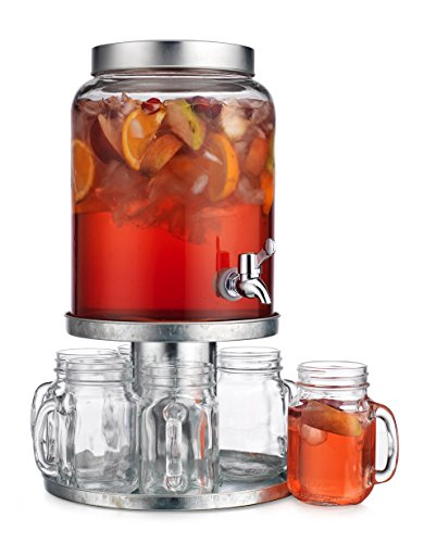Elegant Home 8 PC Set Beverage Drink Dispenser Durable Glass with screw Lid 2.3 Gallon with Spigot includes Galvanized Metal Display Riversble Metal Stand / Cake Stand and Set of (6) mugs