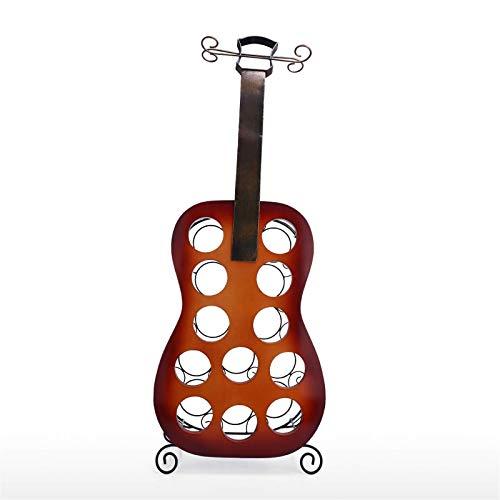 Zjcpow Adornos de escultura de metal 12 botellas guitarra vino estante grande guitarra arte decoración creativo vino estante dormitorio