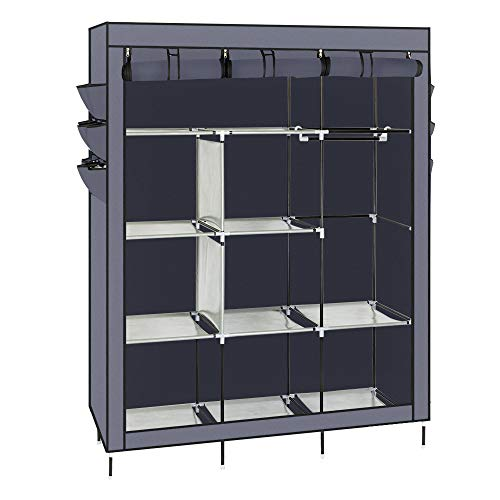 69 Inch Portable Closet Storage Organizer Clothes Wardrobe with Hanging Rack Shelves and Zipper Non-Woven Fabric Free Standing Closet Steel Frame for Bedroom Home Furniture (Gray)