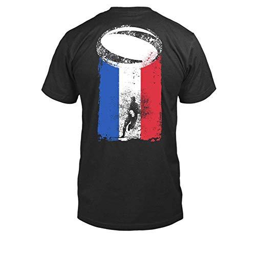 TEEZILY T-Shirt Homme Drapeau de la France Rugby - Noir - XL