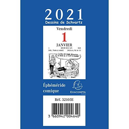 Exacompta 32103E Bloc Ephéméride Comique 6,5 x 9,7 cm Janvier à Décembre 2021
