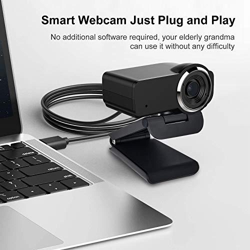 Computer-Kamera,Webcam Full HD 1080P Eingebautes Mikrofon Breitbild Videoanrufen und Aufnahmen Support Facebook Youtube Twitch Streaming, Kompatibel für Windows 10/8/7 und Mac