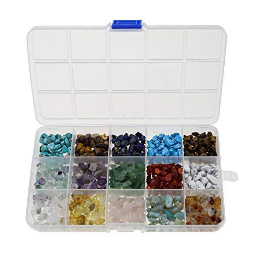 Be In Your Mind - Perlas de piedras preciosas en forma irregular natural con chips de 15 tipos con caja de almacenamiento para bricolaje, pendientes, pulsera, collar